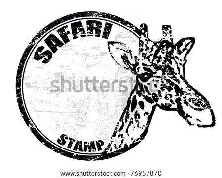 Grunge rubber stamp with giraffe shape and the text safari stamp written inside - stock vector
