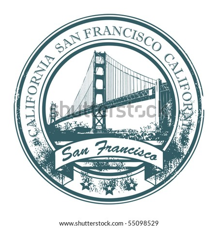 Grunge rubber stamp with Golden Gate Bridge and the word San Francisco, California inside, vector illustration - stock vector