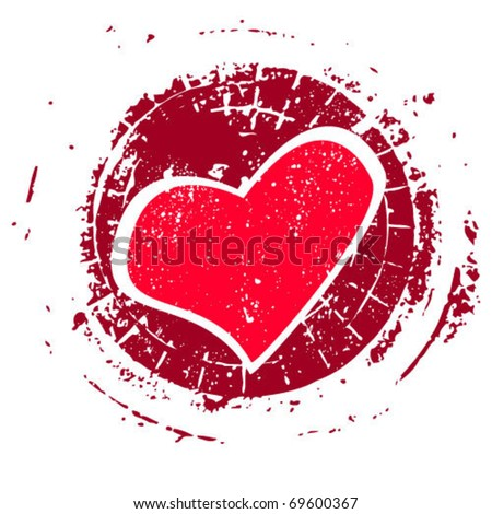 Grunge rubber stamp with heart, vector illustration eps