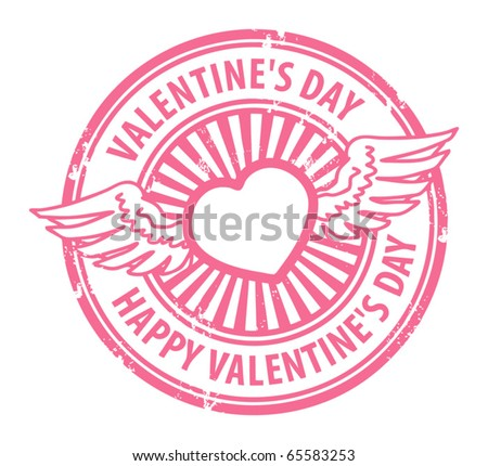 Grunge rubber stamp with heart, wings and the text Happy Valentine's Day written inside, vector illustration - stock vector