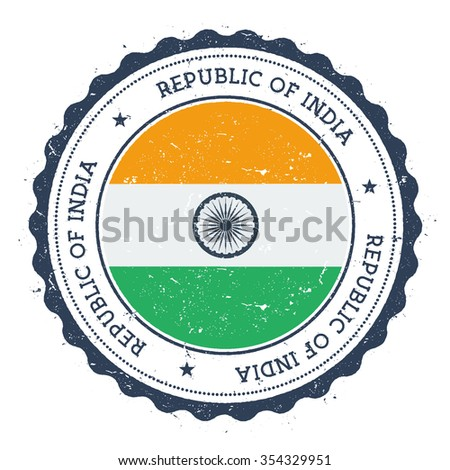 Grunge rubber stamp with India flag. Vintage travel stamp with circular text, stars and country flag inside it, vector illustration - stock vector