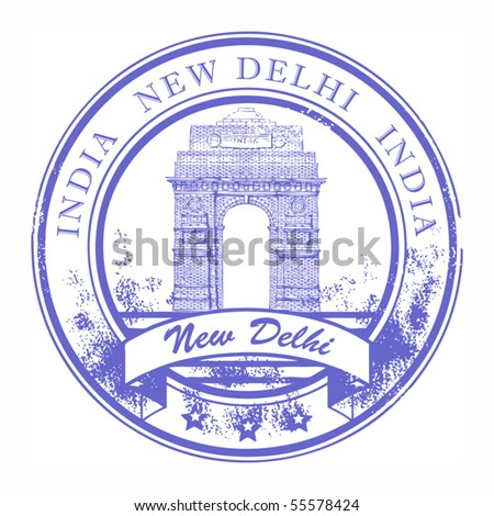 Grunge rubber stamp with India Gate and the word New Delhi, India inside, vector illustration - stock vector