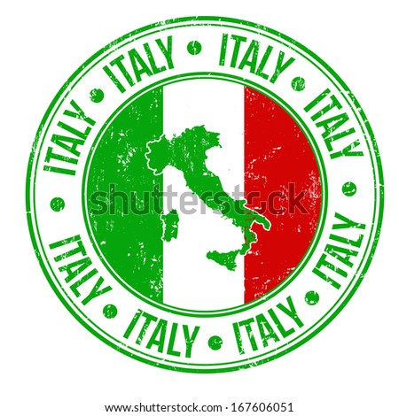 Grunge rubber stamp with Italy flag, map and the word Italy written inside, vector illustration - stock vector