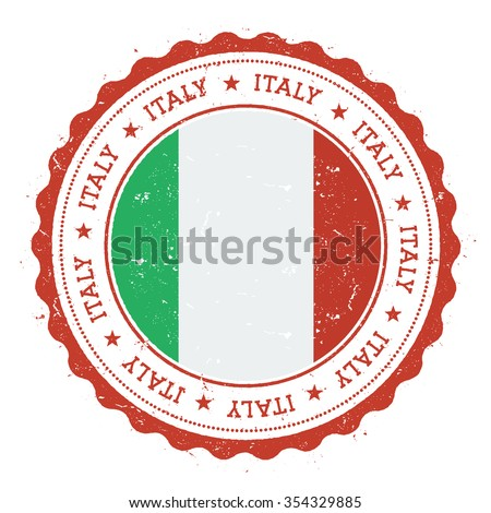 Grunge rubber stamp with Italy flag. Vintage travel stamp with circular text, stars and country flag inside it, vector illustration - stock vector