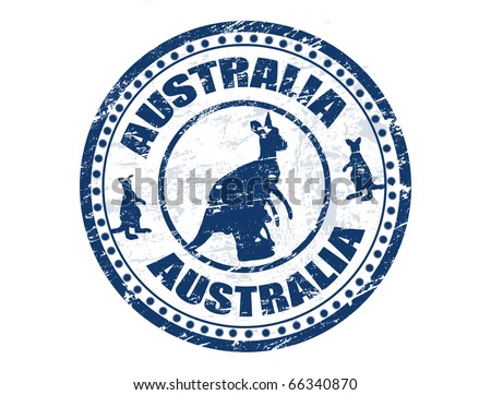 Grunge rubber stamp with kangaroo shape and the text Australia written inside the stamp, vector illustration - stock vector