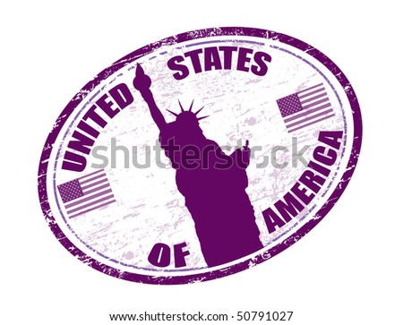 grunge rubber stamp with liberty statue, U.S. flags and the name of United States of America written in the stamp - stock vector