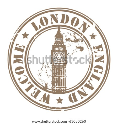 Grunge rubber stamp with London, England, Welcome inside, vector illustration - stock vector