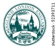 Grunge rubber stamp with London parliament and the word London, England inside, vector illustration - stock photo