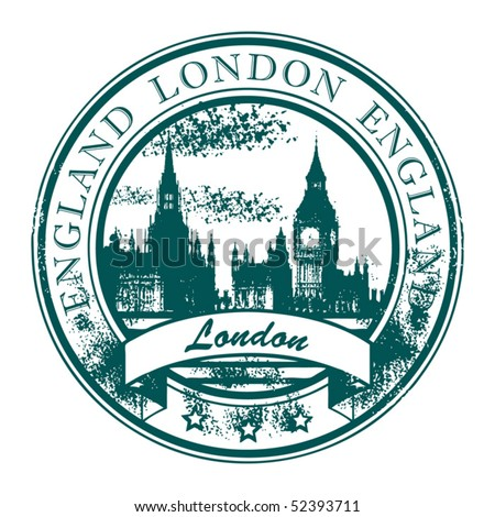 Grunge rubber stamp with London parliament and the word London, England inside, vector illustration - stock vector