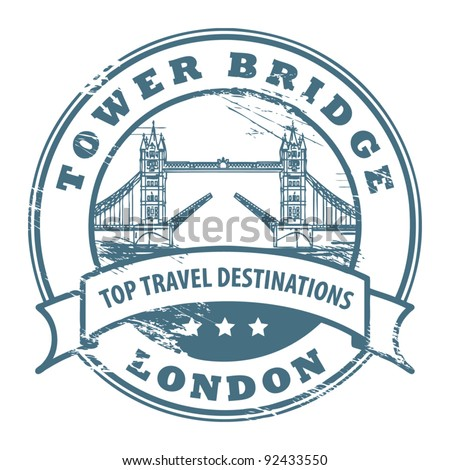 Grunge rubber stamp with London, Tower Bridge inside, vector illustration - stock vector