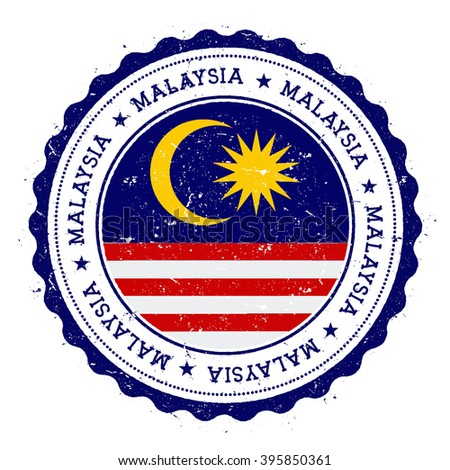 Grunge rubber stamp with Malaysia flag. Vintage travel stamp with circular text, stars and country flag inside it, vector illustration. - stock vector