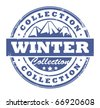 Grunge rubber stamp with mountains and the word Winter Collection inside, vector illustration - stock vector
