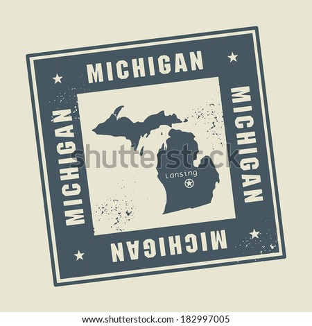 Grunge rubber stamp with name and map of Michigan, USA, vector illustration - stock vector