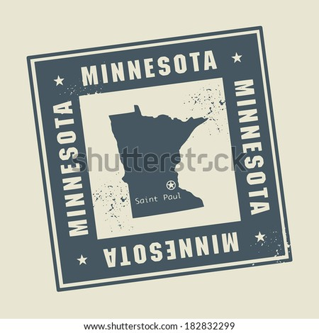 Grunge rubber stamp with name and map of Minnesota, USA, vector illustration - stock vector