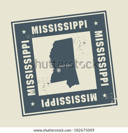 Grunge rubber stamp with name and map of Mississippi, USA, vector illustration - stock vector