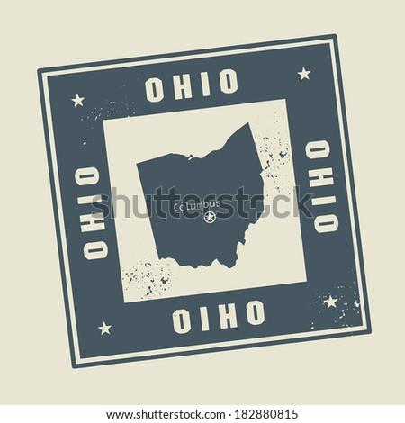 Grunge rubber stamp with name and map of Ohio, USA, vector illustration - stock vector