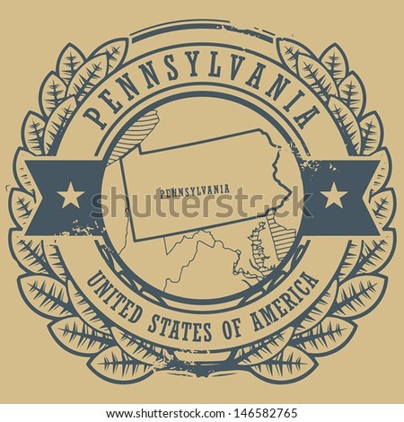 Grunge rubber stamp with name and map of Pennsylvania, USA, vector illustration - stock vector