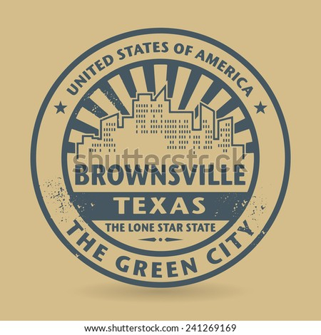 Grunge rubber stamp with name of Brownsville, Texas, vector illustration