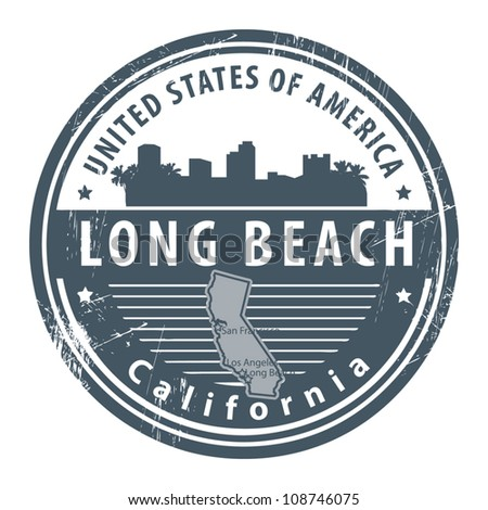 Grunge rubber stamp with name of California, Long Beach, vector illustration - stock vector