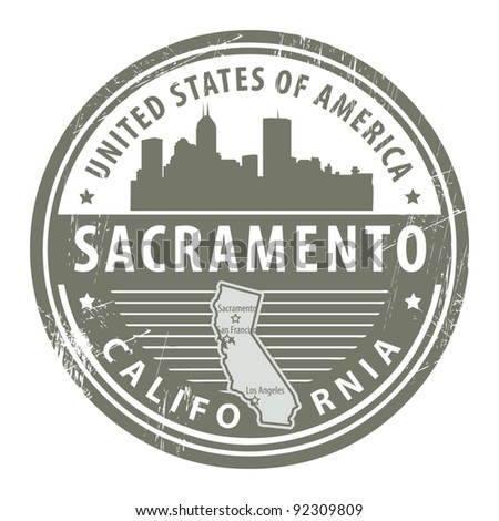 Grunge rubber stamp with name of California, Sacramento, vector illustration - stock vector