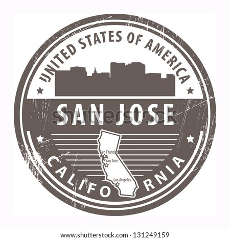 Grunge rubber stamp with name of California, San Jose, vector illustration - stock vector