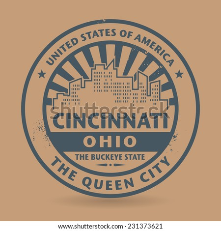 Grunge rubber stamp with name of Cincinnati, Ohio, vector illustration - stock vector