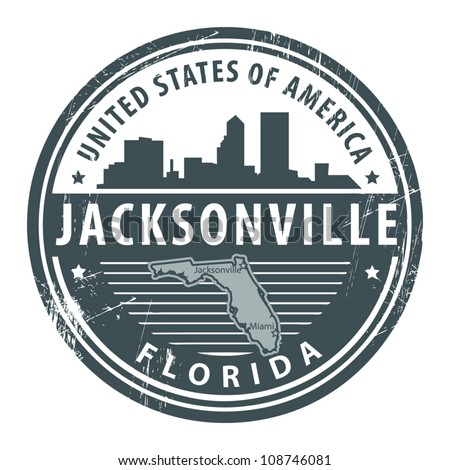 Grunge rubber stamp with name of Florida, Jacksonville, vector illustration - stock vector