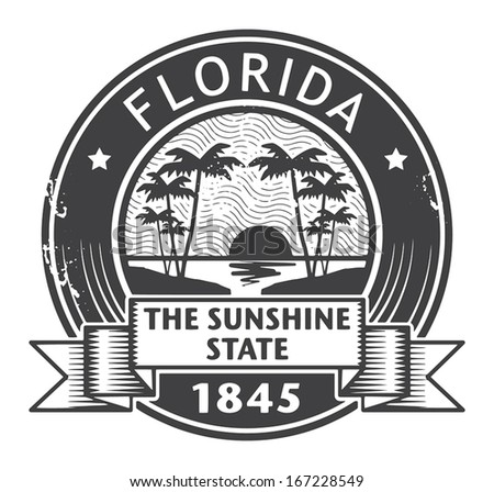 Grunge rubber stamp with name of Florida, vector illustration - stock vector