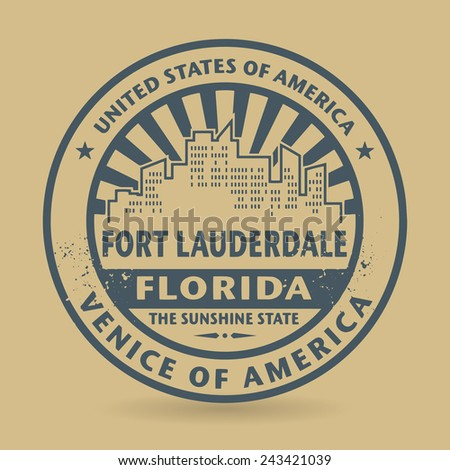 Grunge rubber stamp with name of Fort Lauderdale, Florida, vector illustration - stock vector