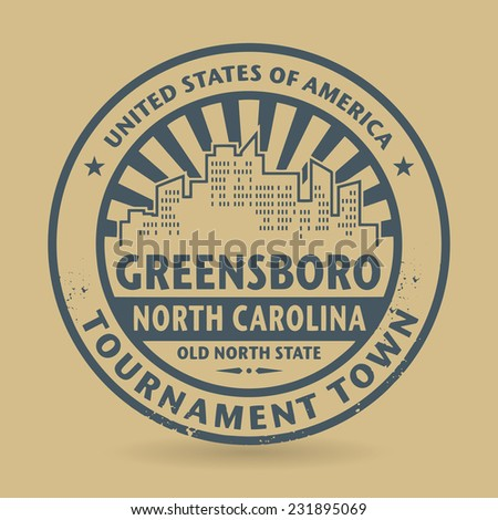 Grunge rubber stamp with name of Greensboro, North Carolina, vector illustration - stock vector