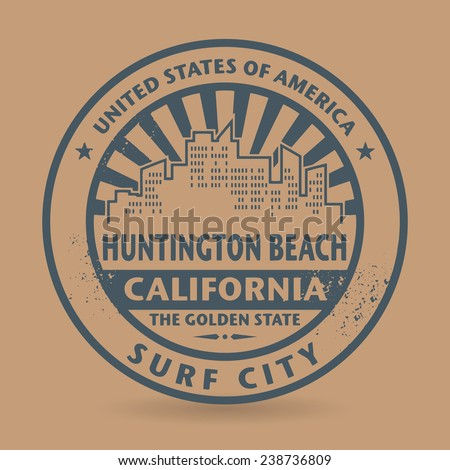 Grunge rubber stamp with name of Huntington Beach, California, vector illustration