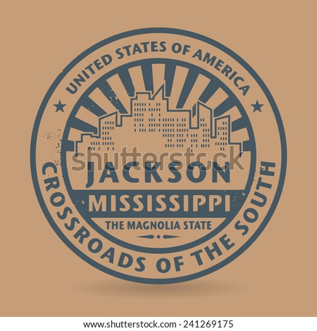 Grunge rubber stamp with name of Jackson, Mississippi, vector illustration - stock vector
