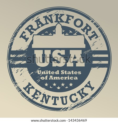 Grunge rubber stamp with name of Kentucky, Frankfort, vector illustration