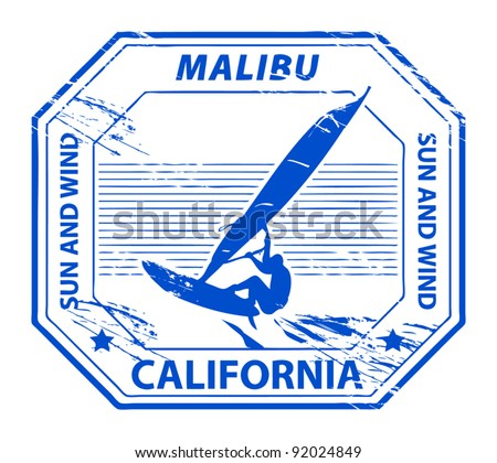 Grunge rubber stamp with name of Malibu, California, vector illustration - stock vector
