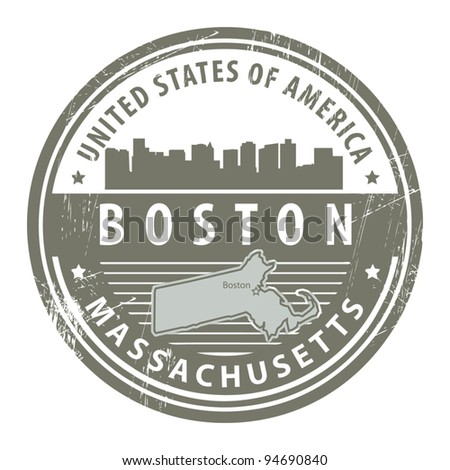 Grunge rubber stamp with name of Massachusetts, Boston, vector illustration