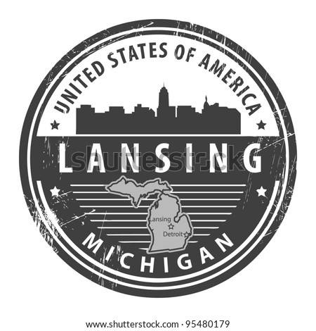 Grunge rubber stamp with name of Michigan, Lansing, vector illustration - stock vector