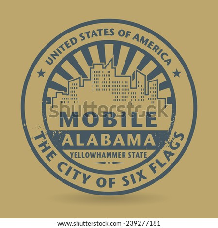Grunge rubber stamp with name of Mobile, Alabama, vector illustration