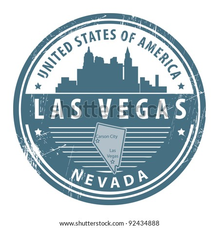 Grunge rubber stamp with name of Nevada, Las Vegas, vector illustration - stock vector