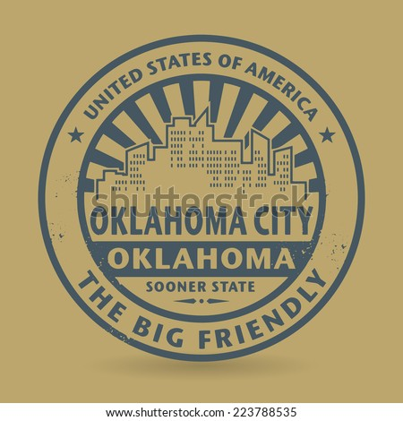 Grunge rubber stamp with name of Oklahoma City, Oklahoma, vector illustration