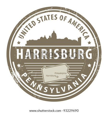 Grunge rubber stamp with name of Pennsylvania, Harrisburg, vector illustration