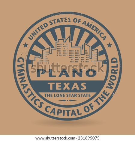 Grunge rubber stamp with name of Plano, Texas, vector illustration - stock vector