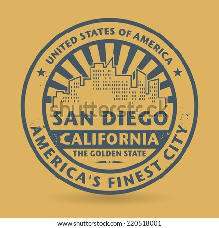 Grunge rubber stamp with name of San Diego, California, vector illustration - stock vector