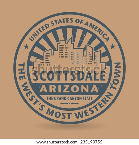 Grunge rubber stamp with name of Scottsdale, Arizona, vector illustration - stock vector