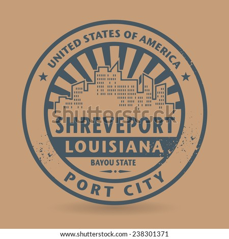 Grunge rubber stamp with name of Shreveport, Louisiana, vector illustration