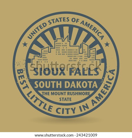 Grunge rubber stamp with name of Sioux Falls, South Dakota, vector illustration