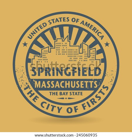 Grunge rubber stamp with name of Springfield, Massachusetts, vector illustration - stock vector