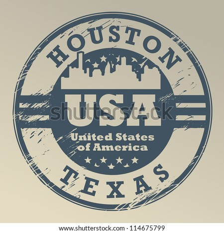 Grunge rubber stamp with name of Texas, Houston, vector illustration - stock vector