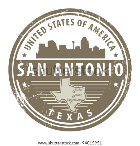 Grunge rubber stamp with name of Texas, San Antonio, vector illustration - stock vector