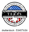 Grunge rubber stamp with name of Texas, vector illustration - stock photo