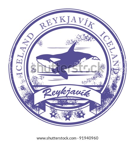 Grunge rubber stamp with Orca and words Reykjavik, Iceland inside, vector illustration - stock vector